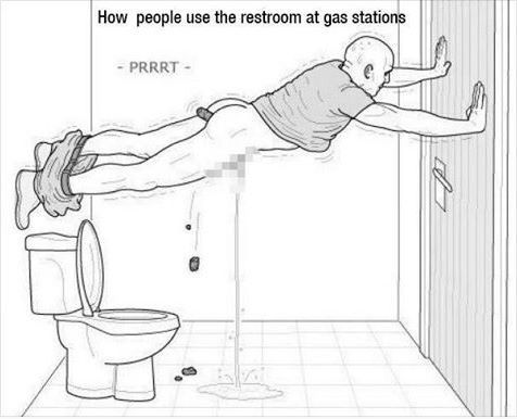 Proper gas station bathroom etiquette