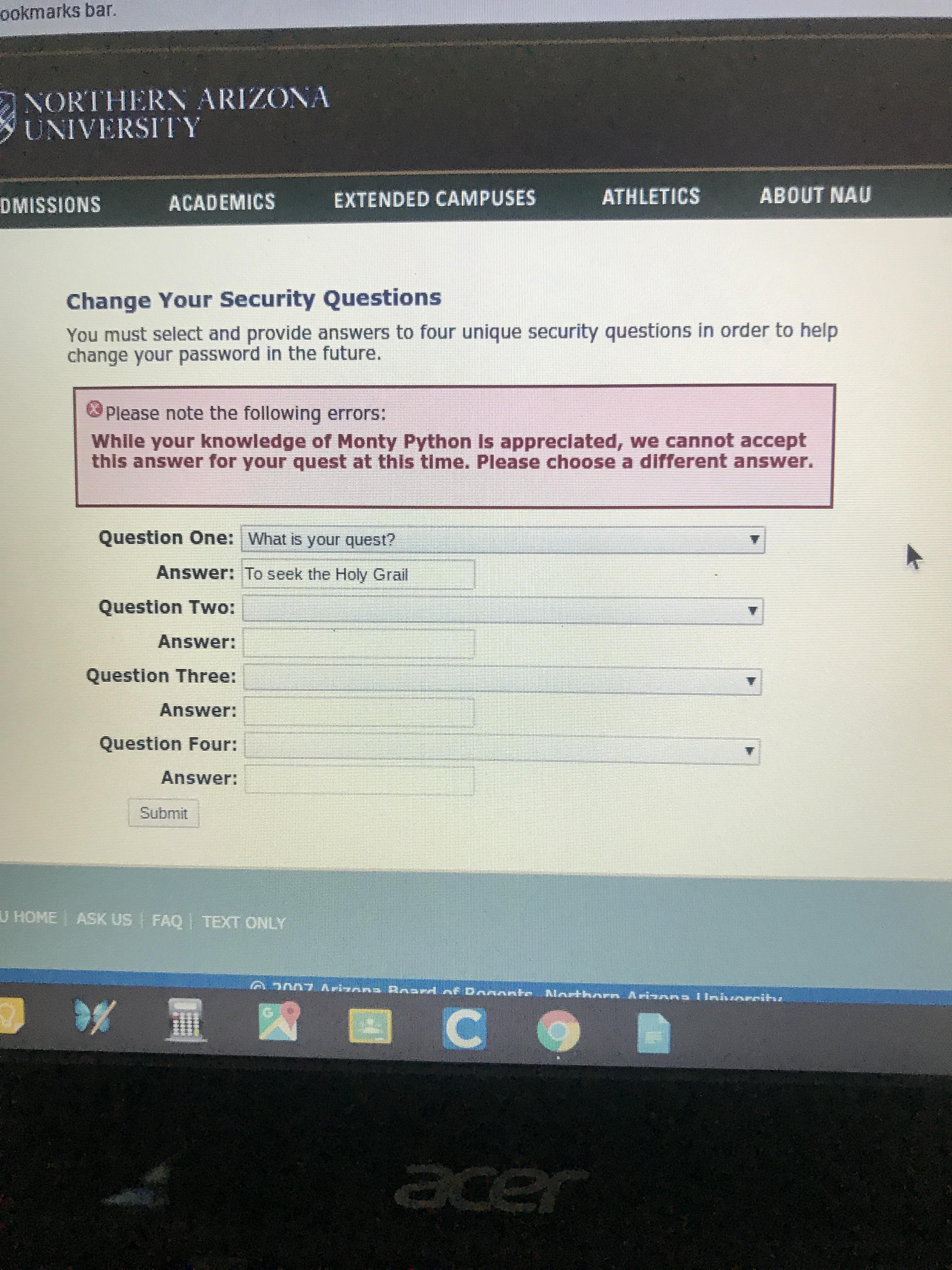 University of Northern Arizona has a pretty great error message