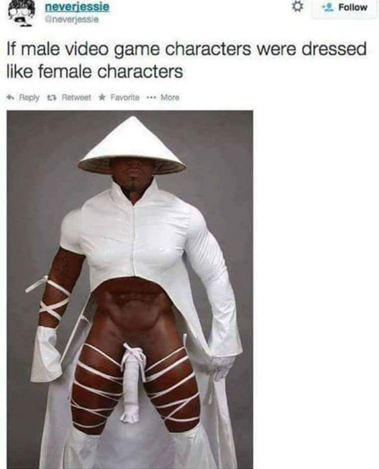 If male video game characters were dressed like female characters