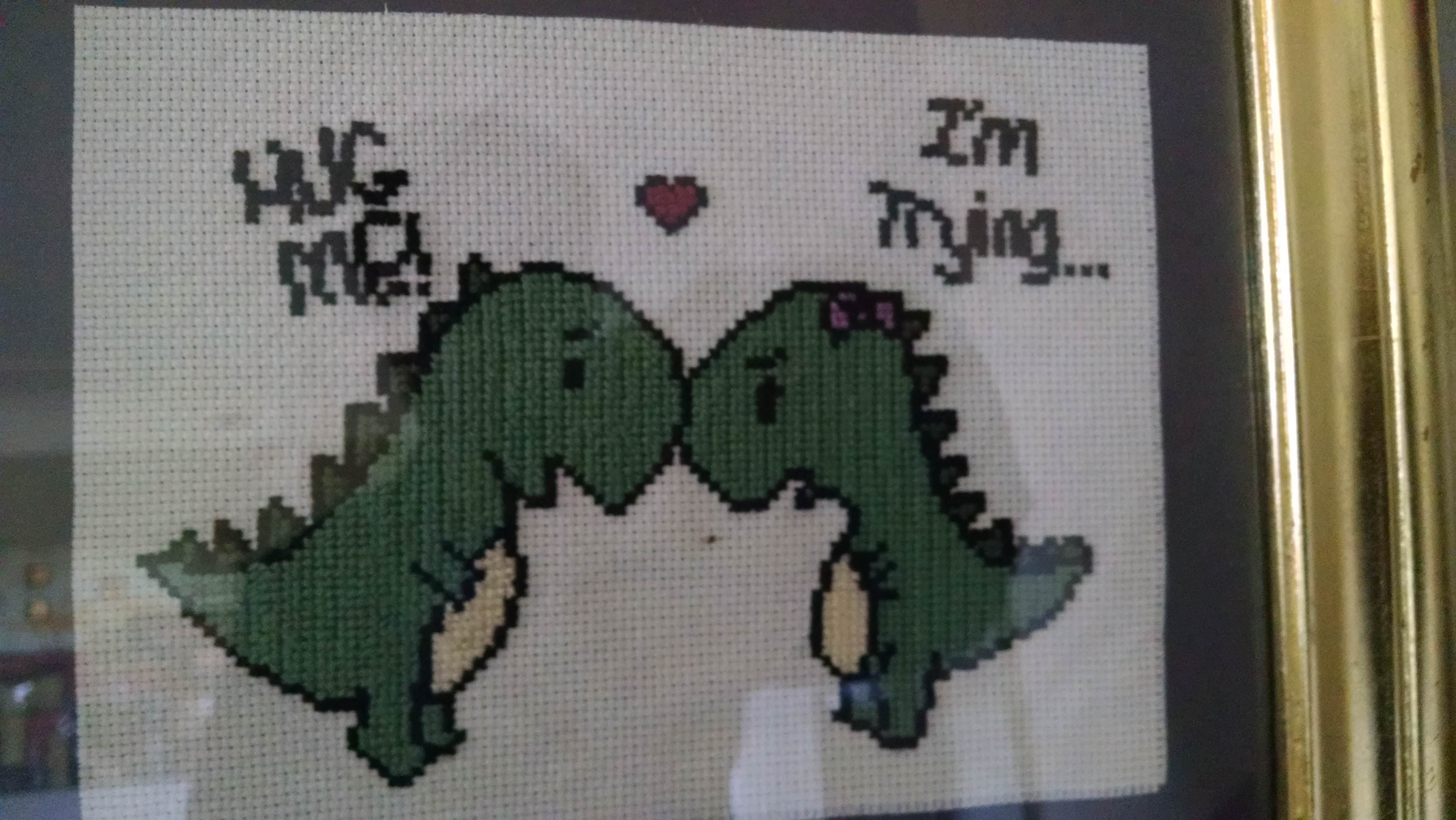 Hugging dinosaurs.