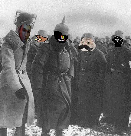Kaiser Windows MMI. with General von Baron inspecting troops before final battle with admin forces