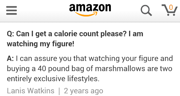 Calorie counter encountered on Amazon