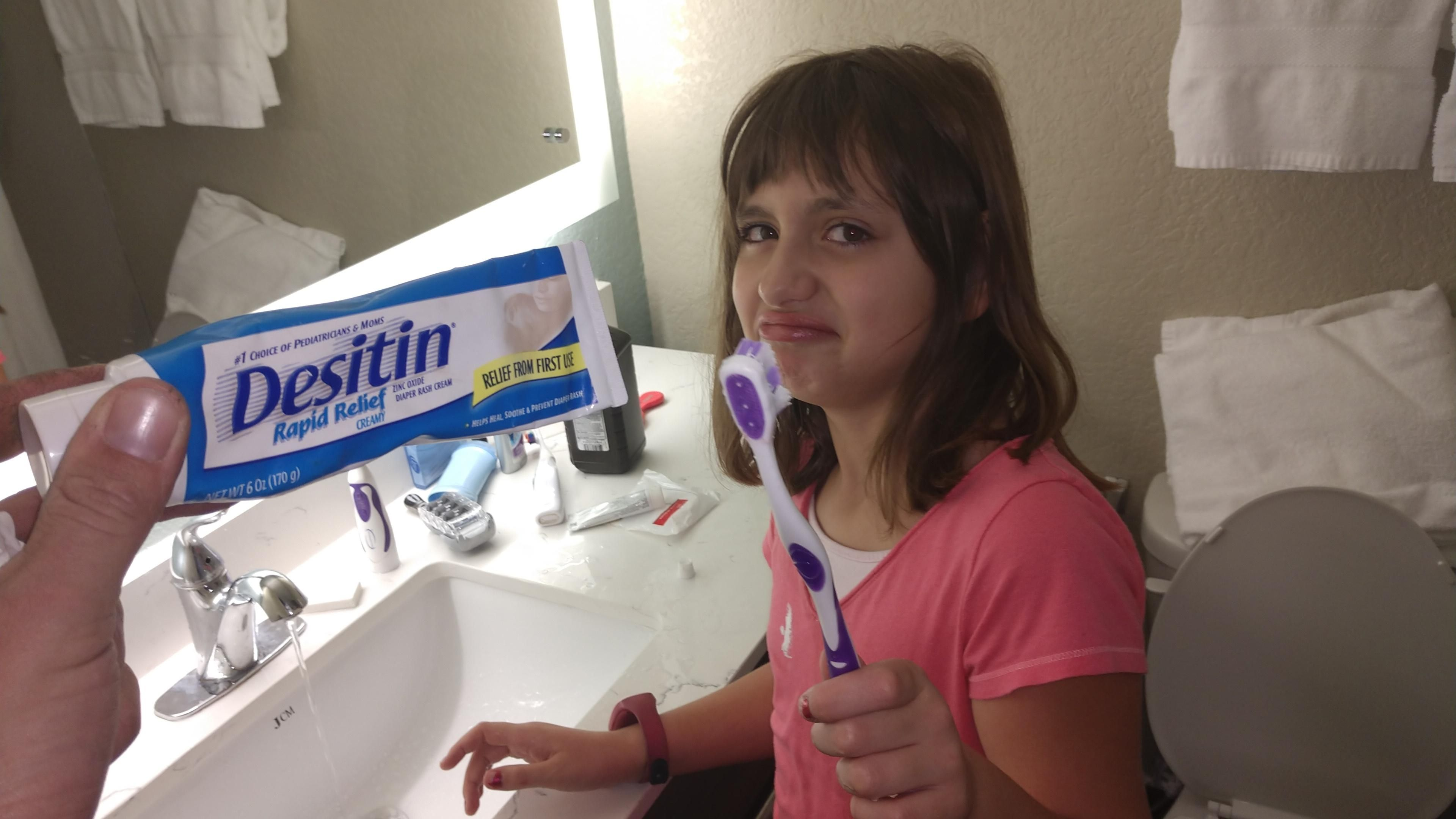 No joke. She fought through it for a full minute before bringing it to us and saying the tooth paste was gross.
