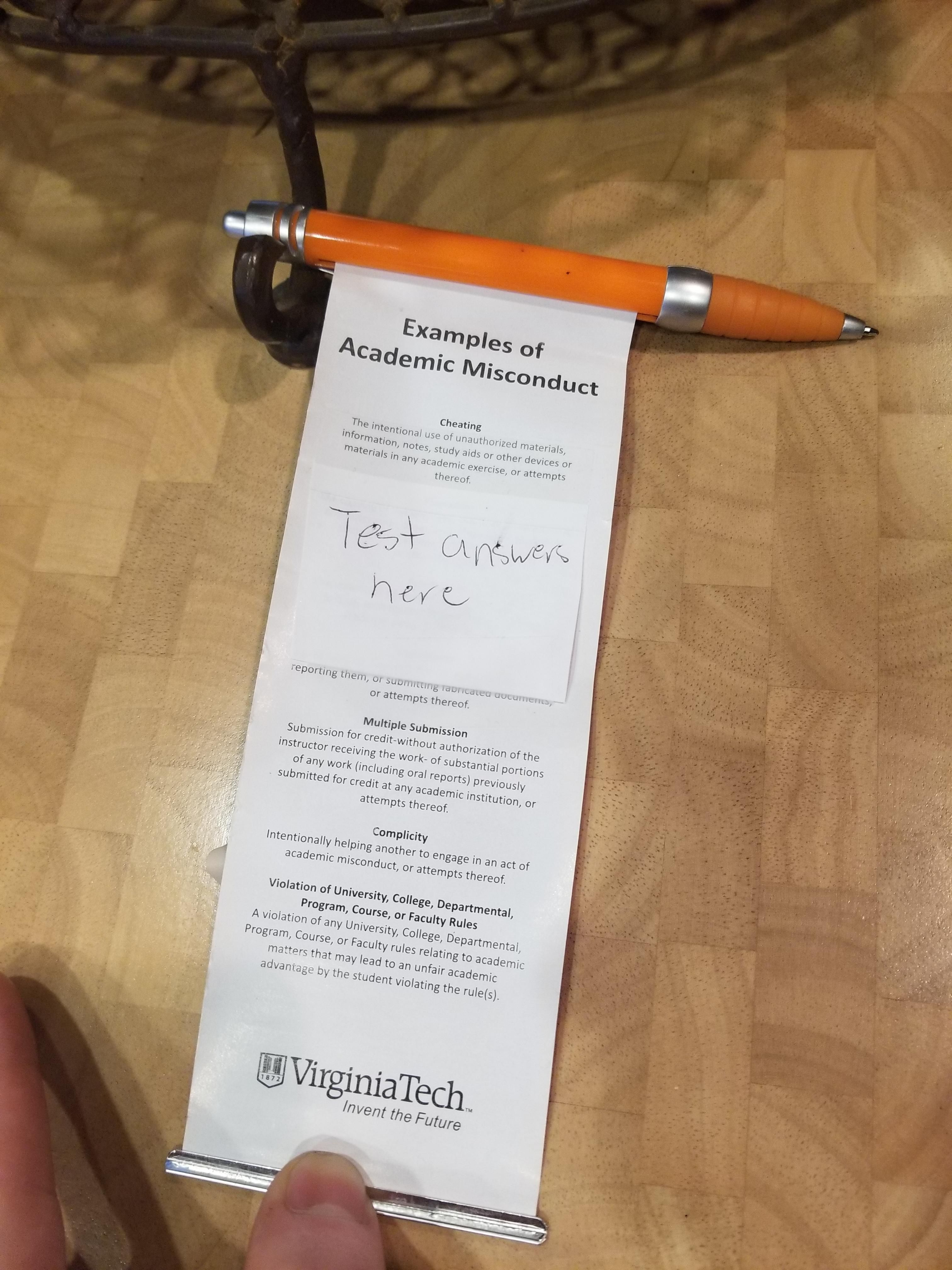 My college's anti-cheating pens are perfect for cheating.