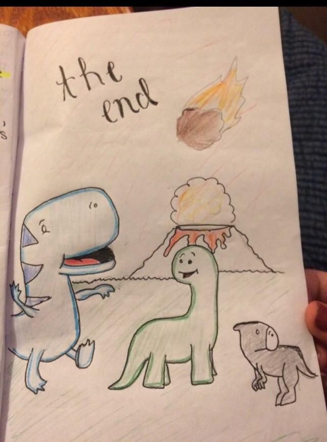 My daughter's super happy fun end to her Cretaceous Period assignment.
