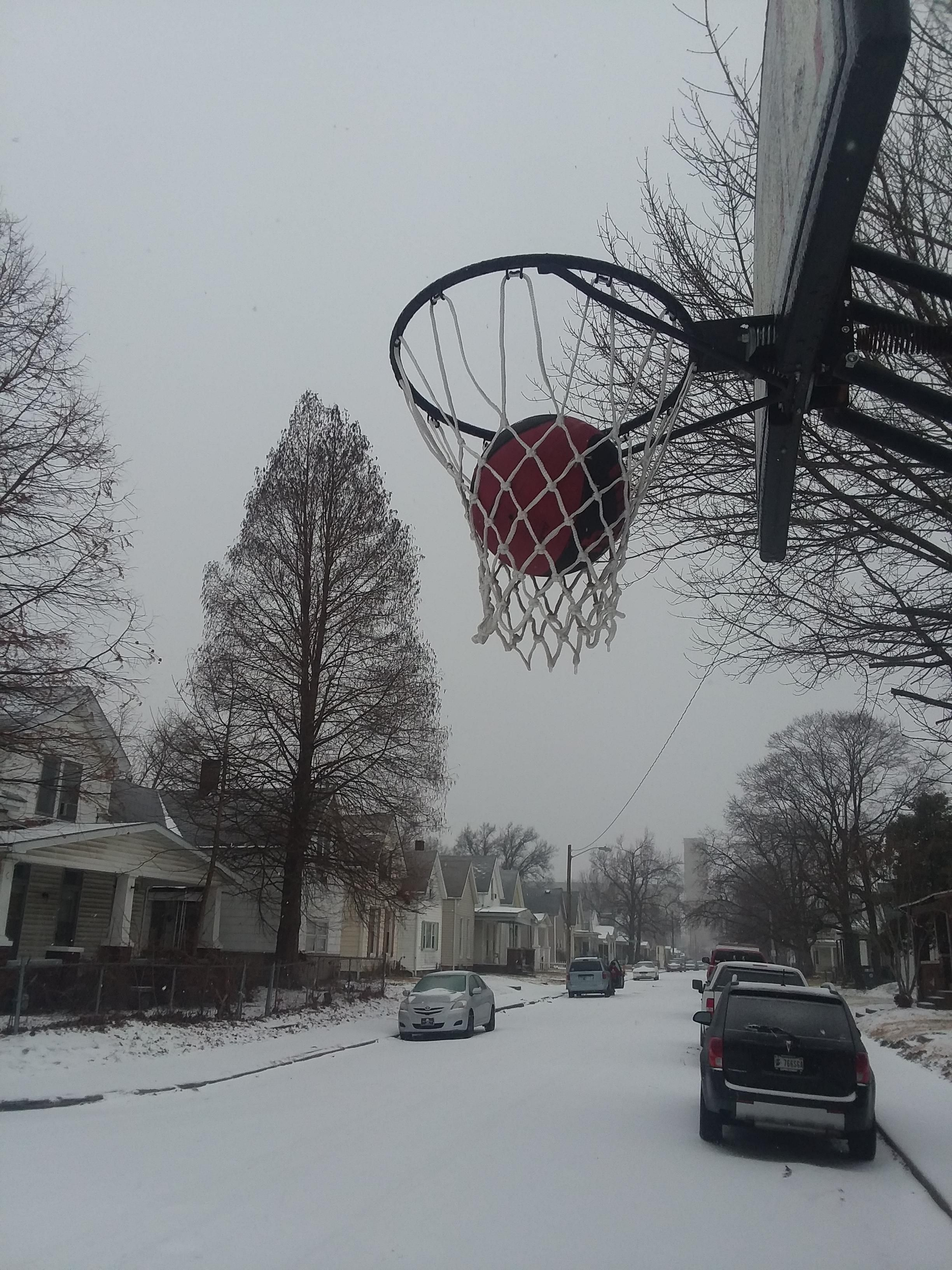 Well it is too cold to play basketball...