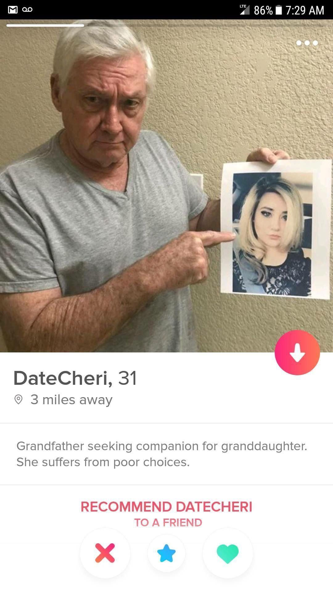 Swiping right for her granddaddy.