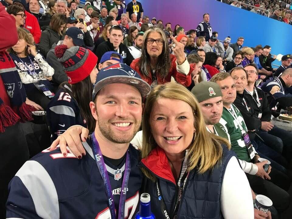 I photobombed my buddy at the Super Bowl. Great minds think alike...