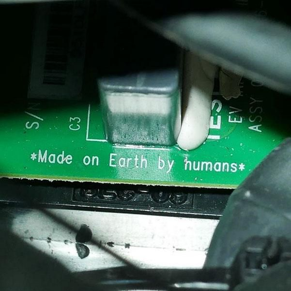 This is printed on a circuit board in the Space Tesla