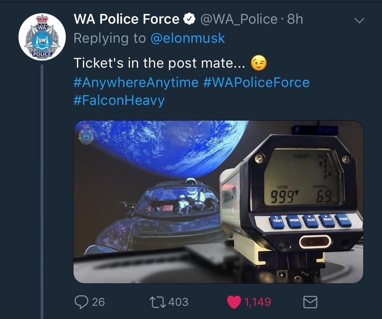 Western Australia's police force response to Elon informing us that his car is currently over Australia.