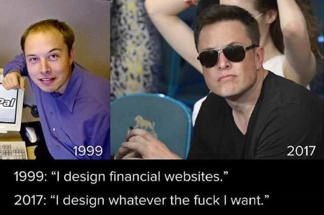 Elon Musk before and after.