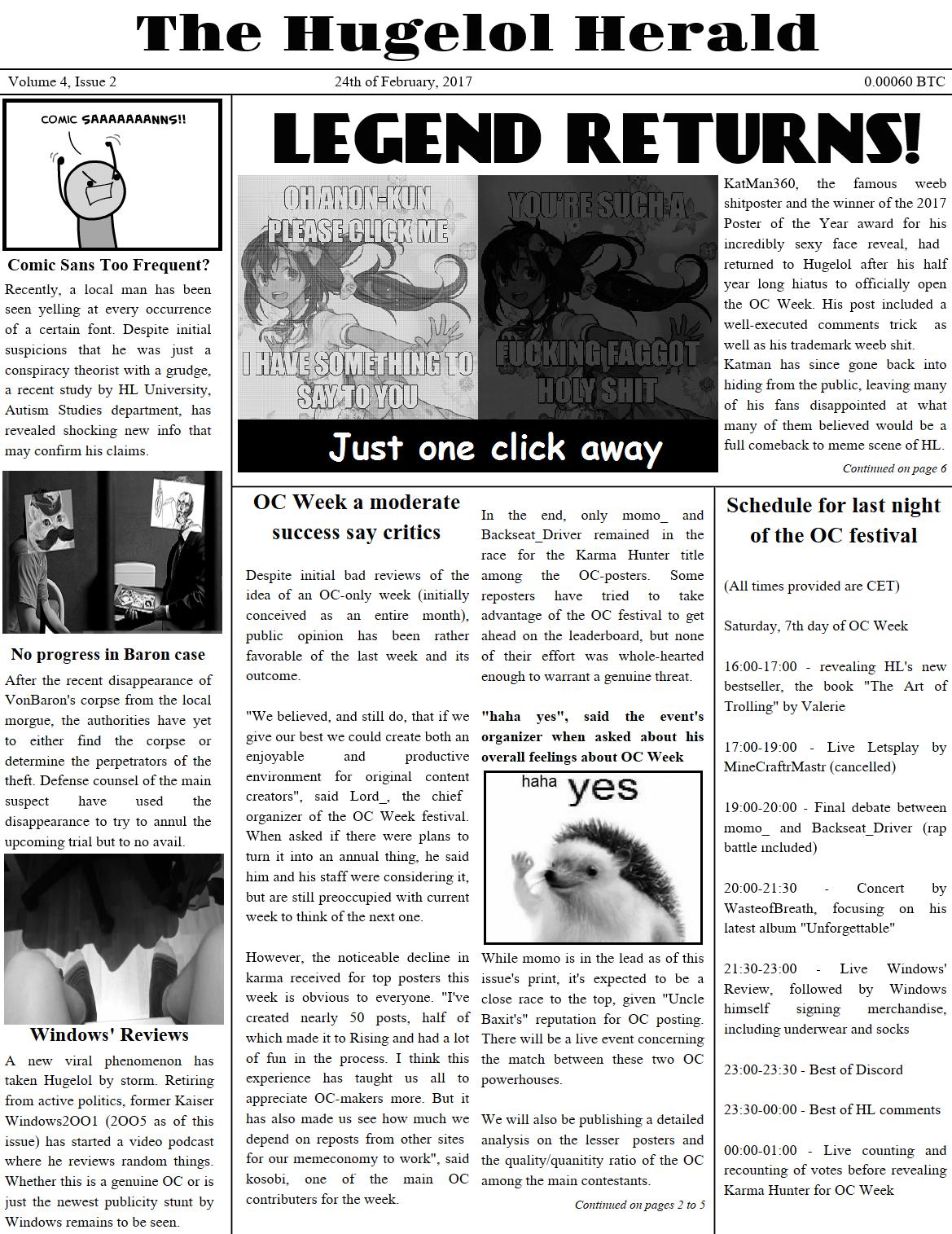 Hugelol Herald, OC Week edition