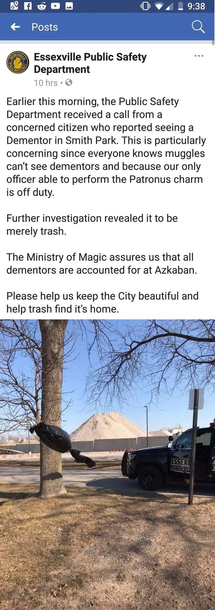 """Police take on a Harry Potter """"Dementor"""" in a local park and report about it on Facebook."""