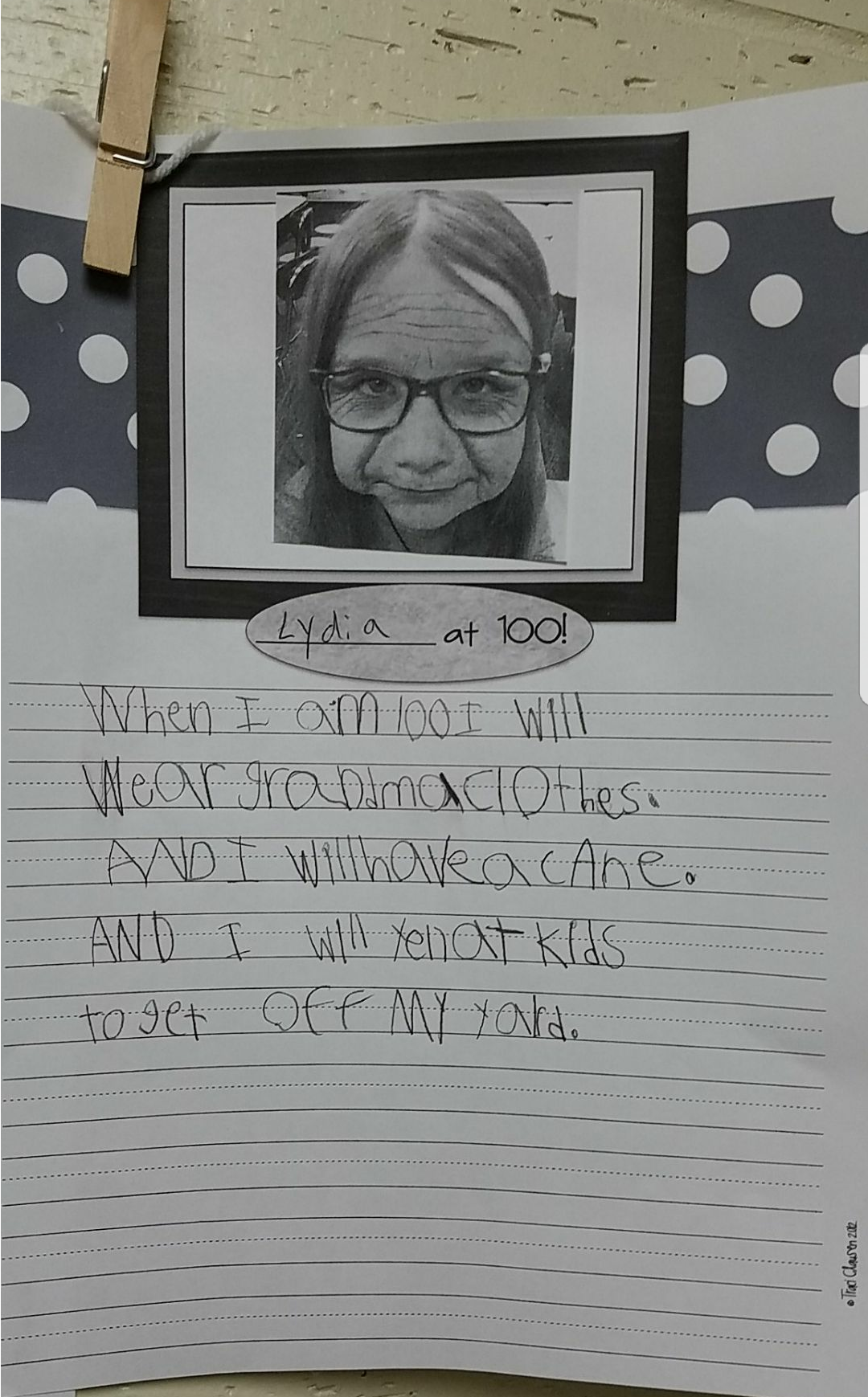 Our 6 year old's prediction for when she's 100.