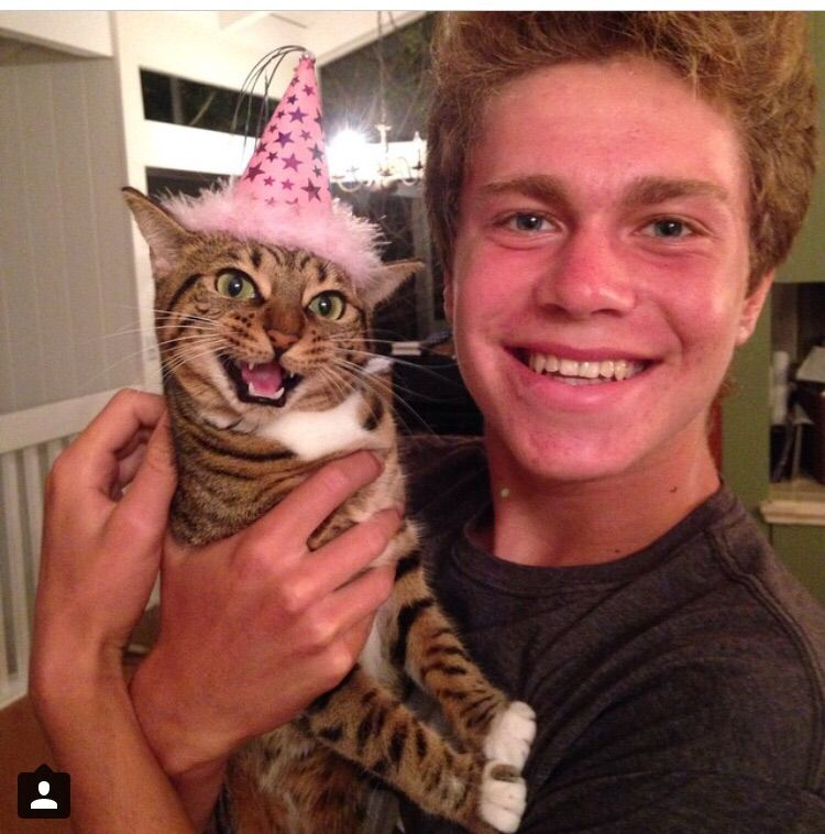 My friend and his cat Nikita on her birthday
