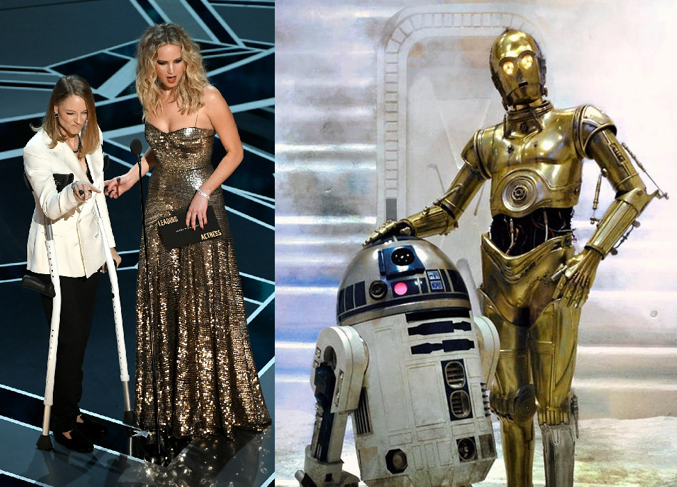 Between the crutches and the color scheme, these Oscars presenters looked familiar...