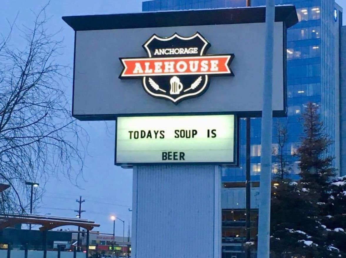 A local alehouse's sign.