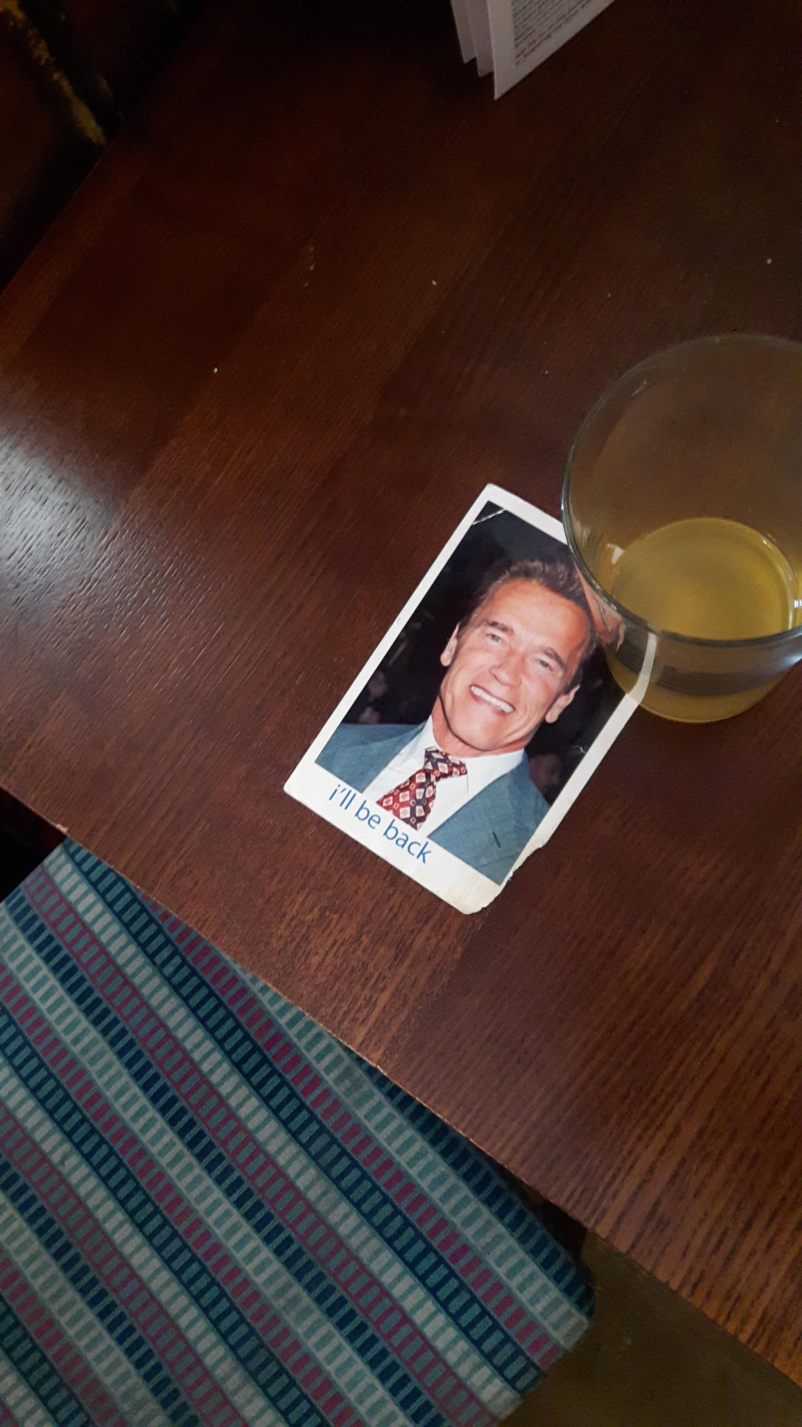 A man in the pub went to the bathroom and left Arnold Swartzenegger to save his seat.