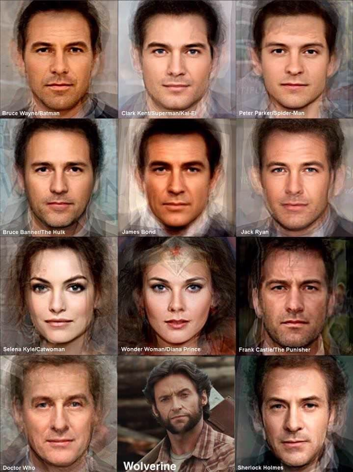 Combining the faces of all the actors who portrayed a certain iconic movie character