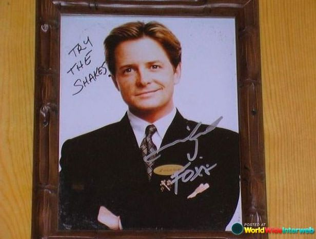 Michael J. Fox's autographed headshot at my favorite local restaurant