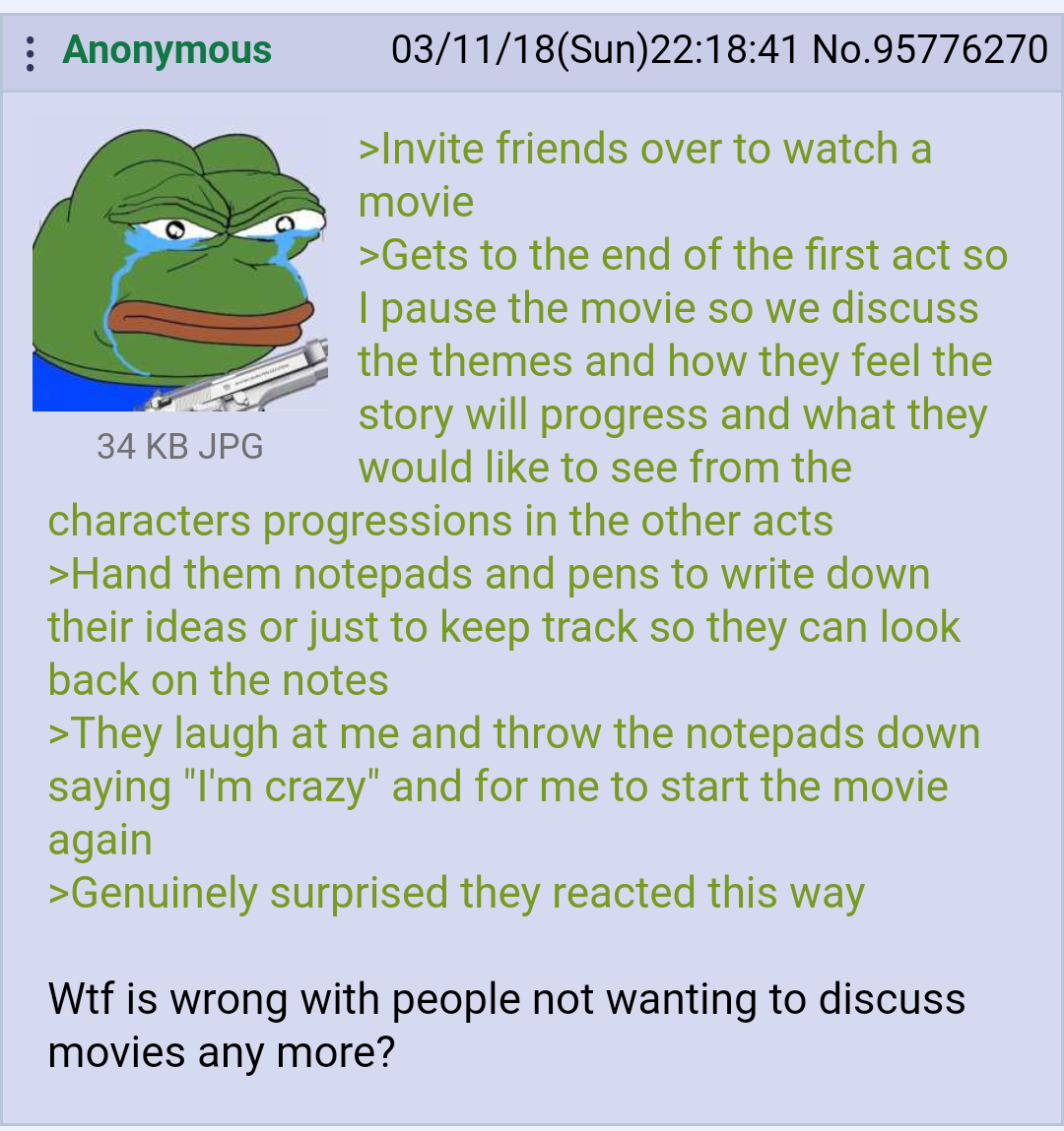 Anon watches a movie with some friends