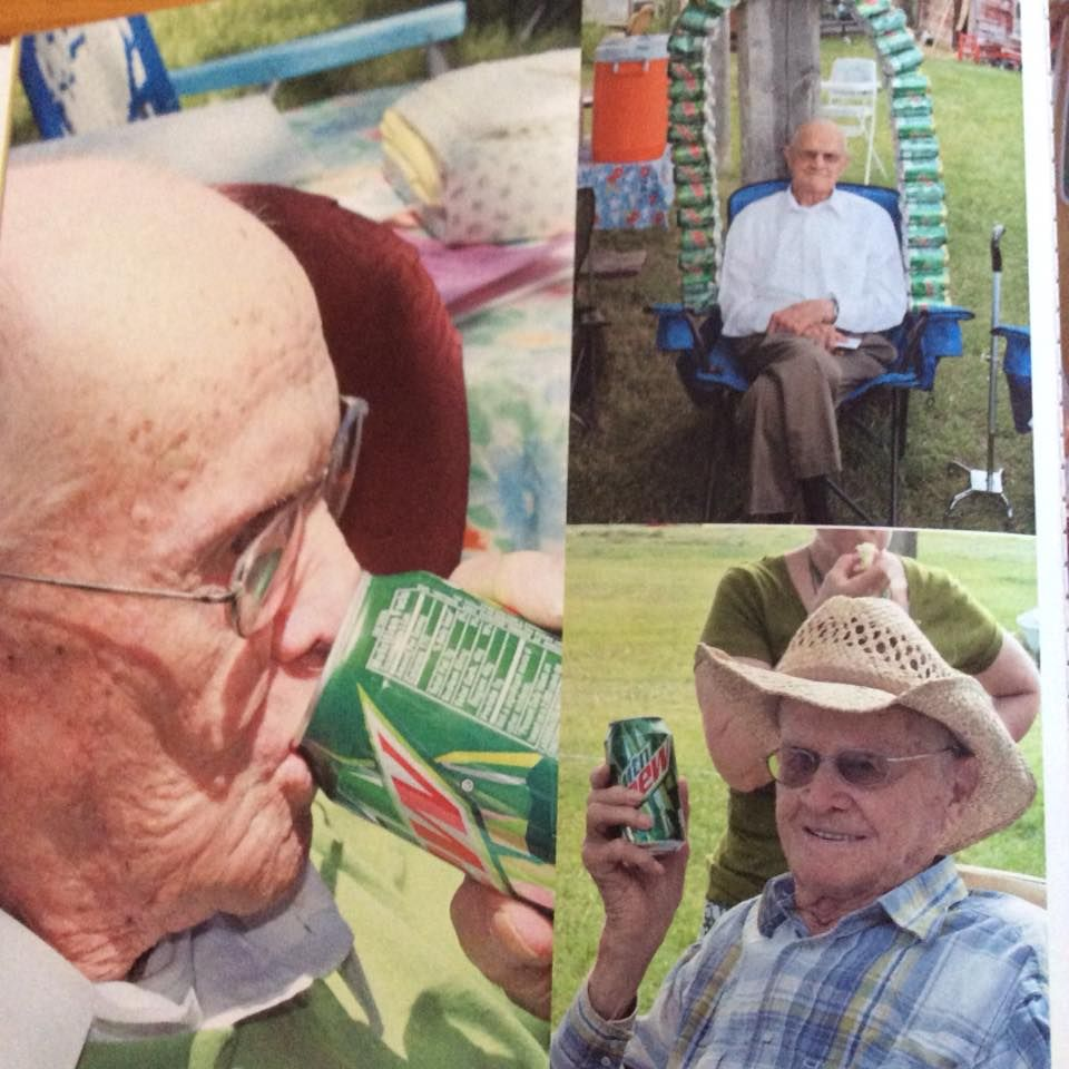 My uncle is convinced Mountain Dew made him live to be 100. Here he is at his 100th birthday party like a badass.
