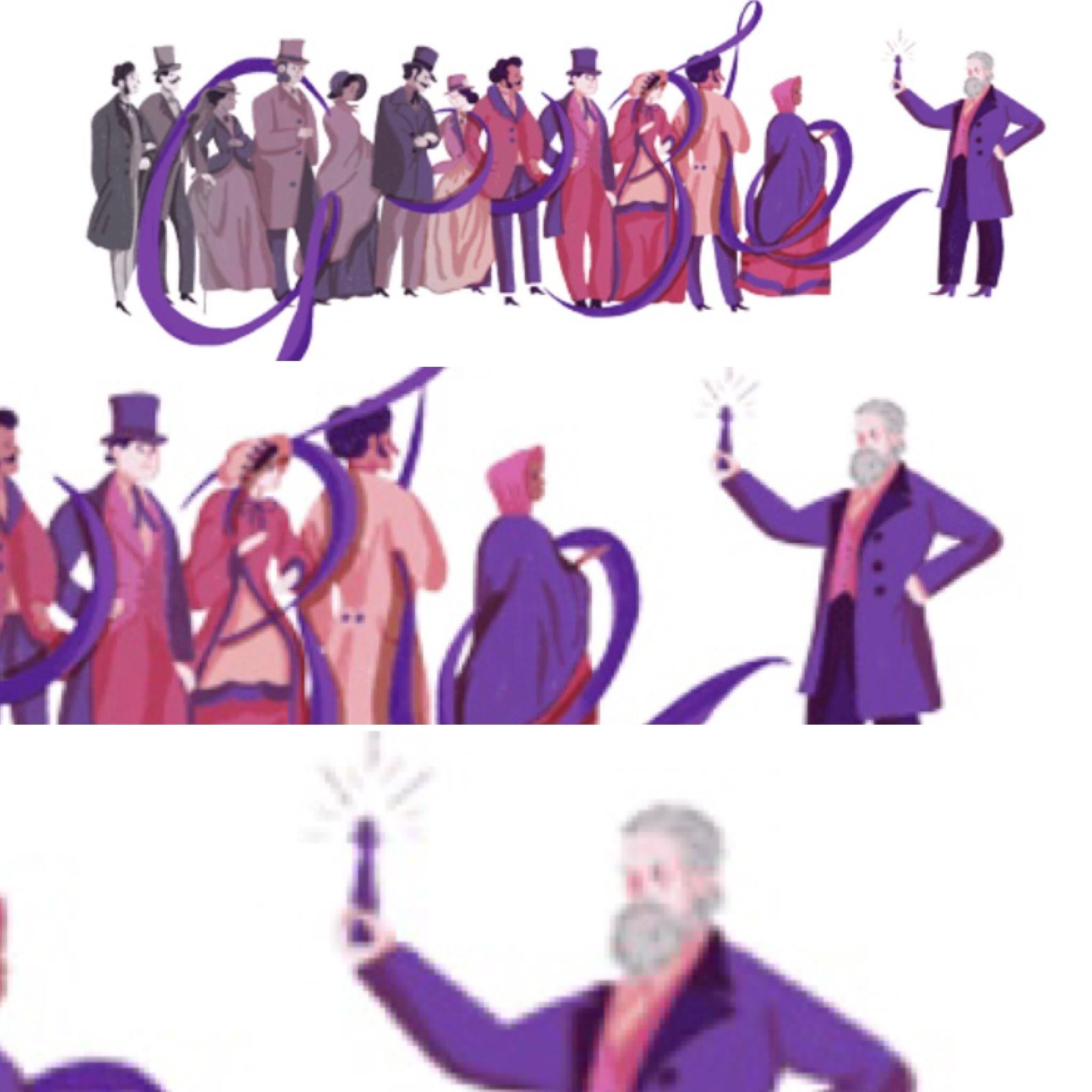 The google doodle today is about a chemist but it looks like it's about the man who discovered the dildo.