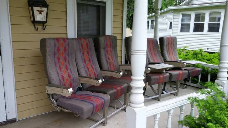Went to visit my son in college. This is his porch furniture!