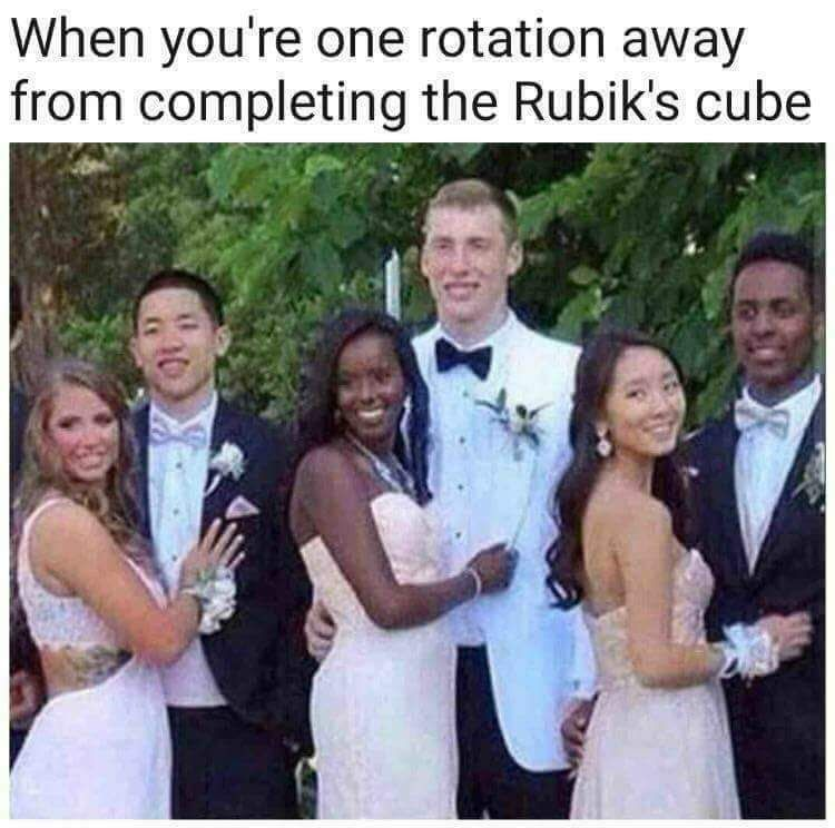 When you are one rotation away from completing the Rubik's cube