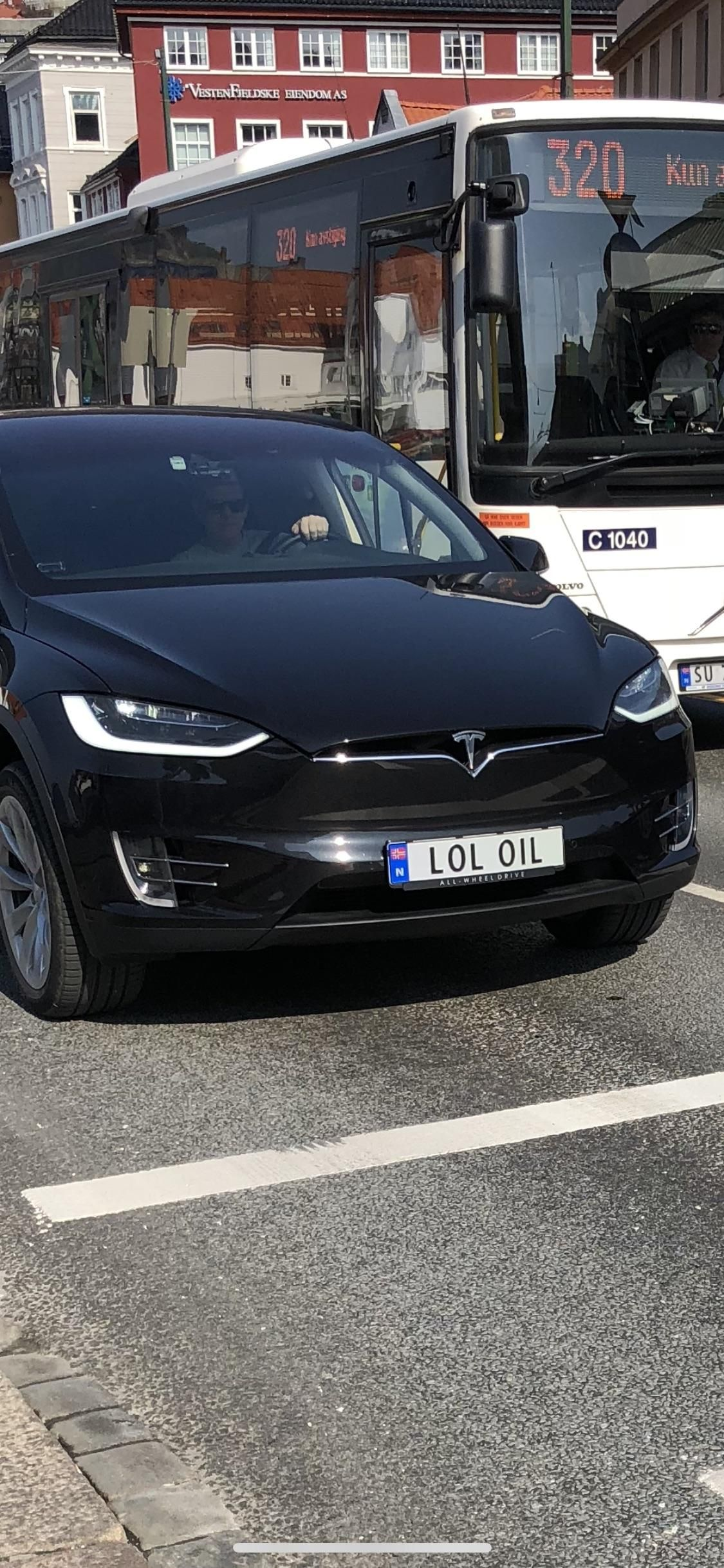 This license plate on a Tesla