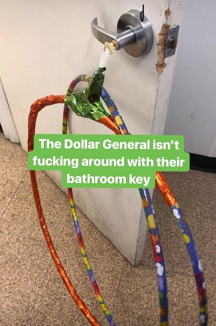 The Dollar General bathroom key