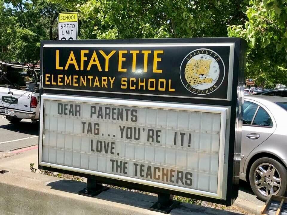 Sign on the last day of school. Infinity no tag backs!