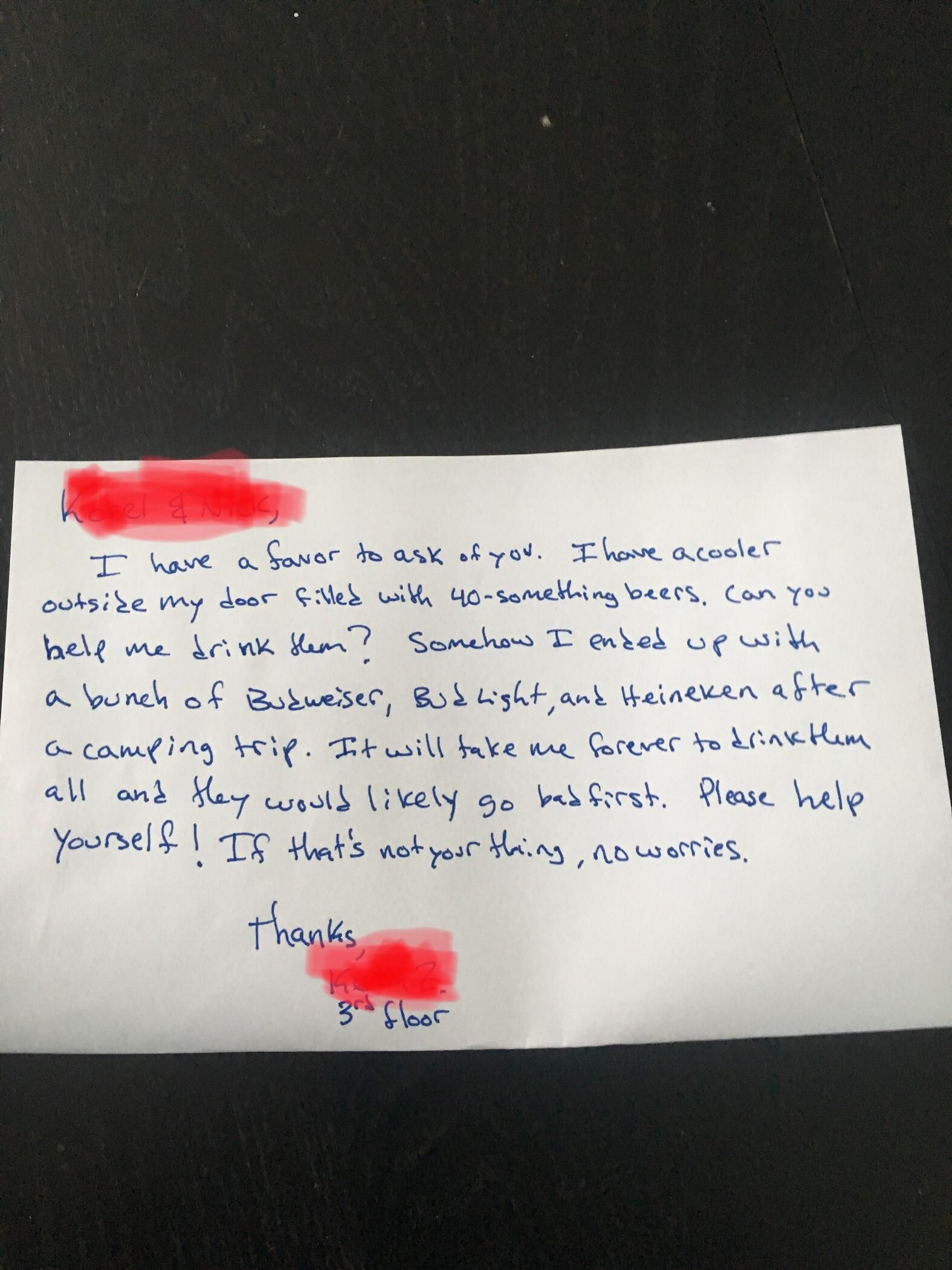 A letter from the guy who lives upstairs