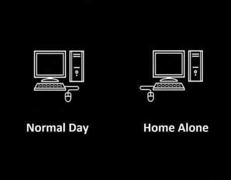 Normal day vs. home alone