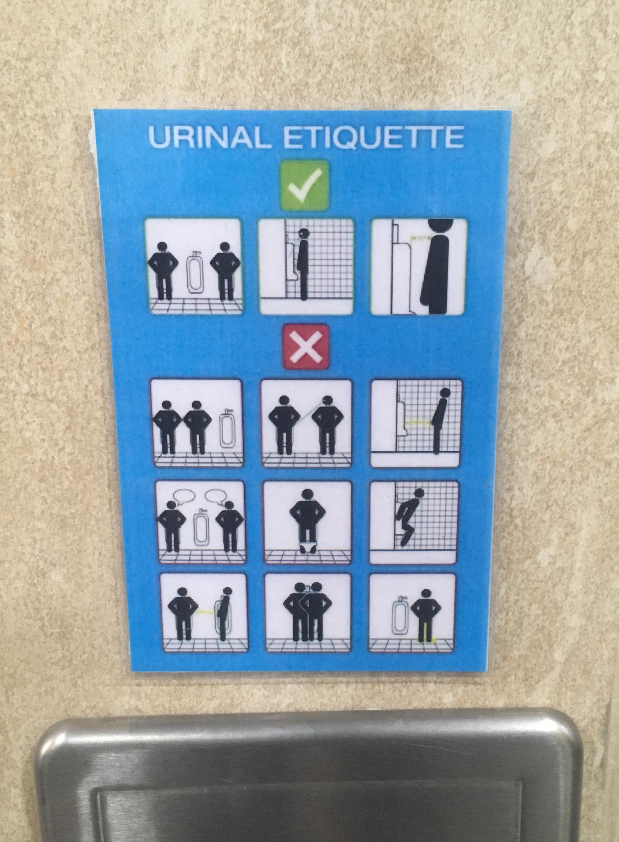 "Came across this urinal etiquette poster. ""Read the instructions carefully before you proceed."""