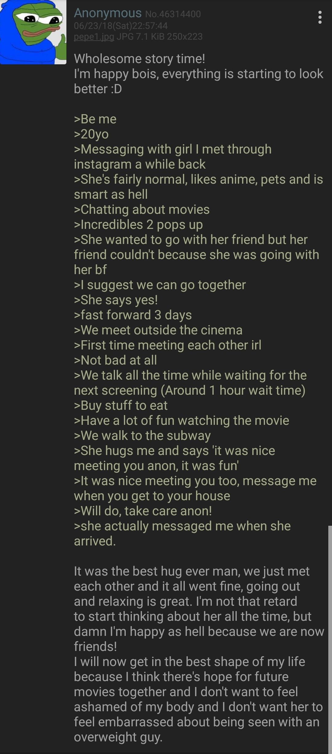 Anon is wholesomely happy