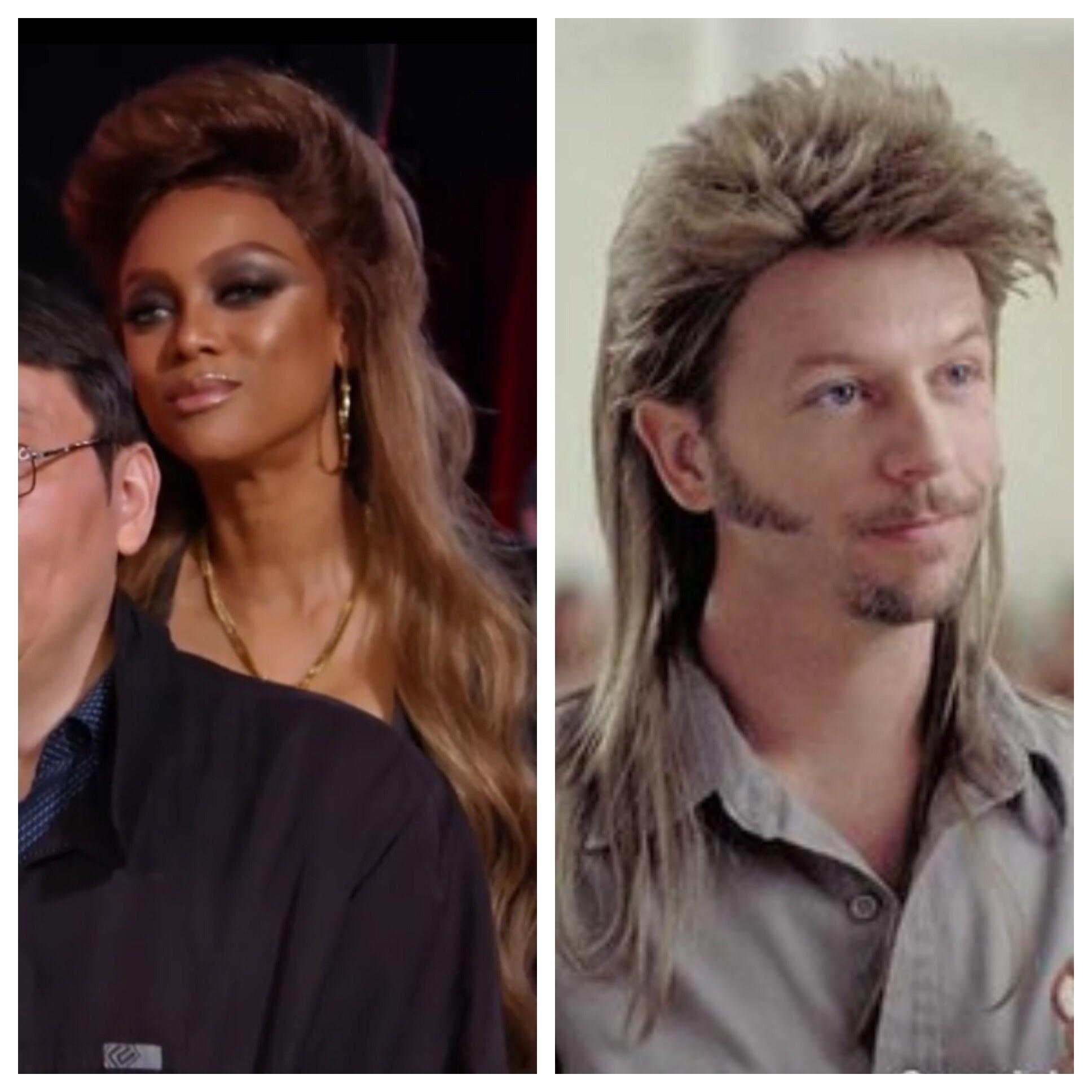 Tyra's hair straight up looking like Joe Dirt.