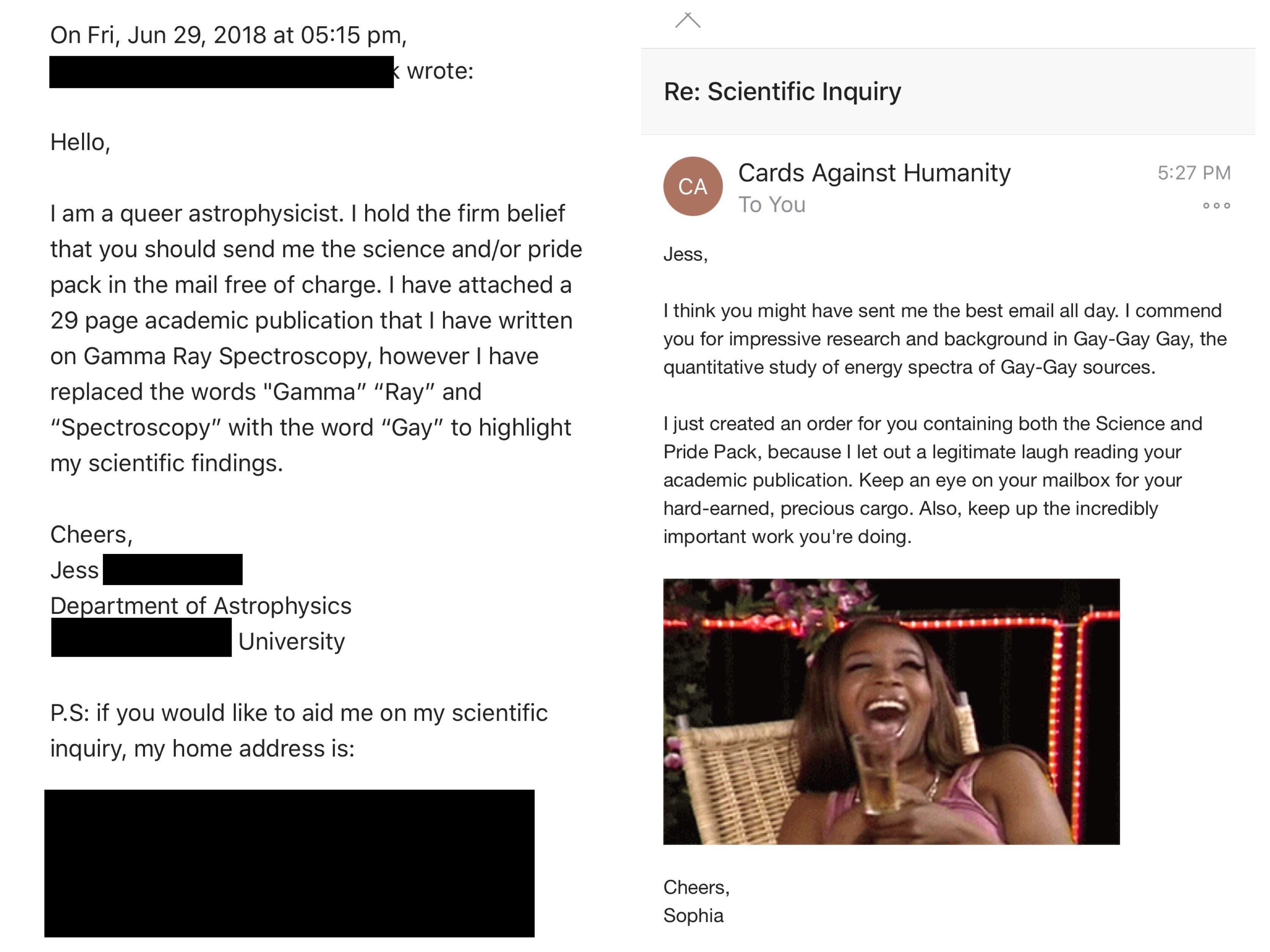 I emailed Cards Against Humanity and told them I was a gay scientist and now they're sending me the pride pack and the science pack for free