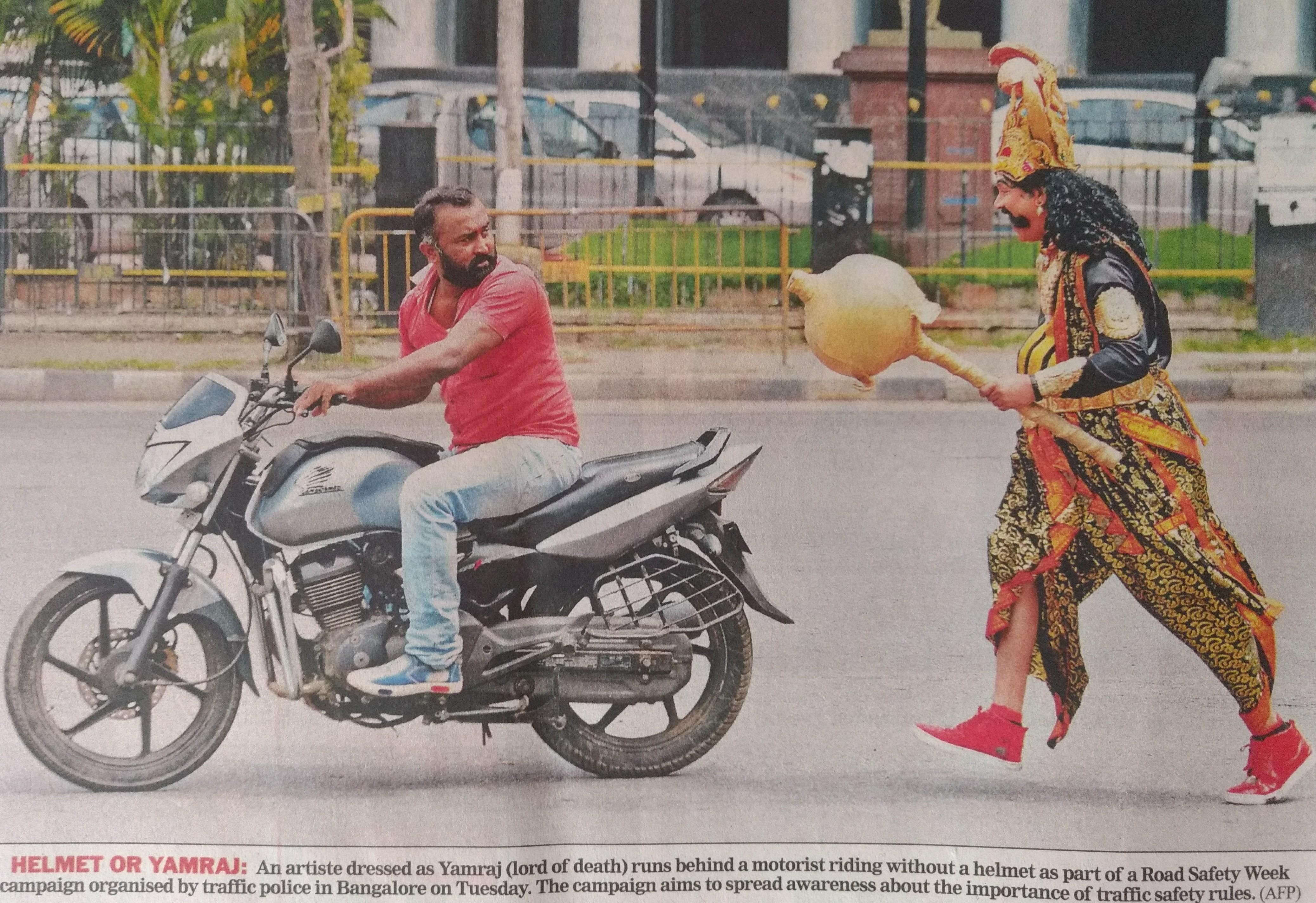 So Indian Police had a guy dress up as God of Death to chase people not wearing helmets