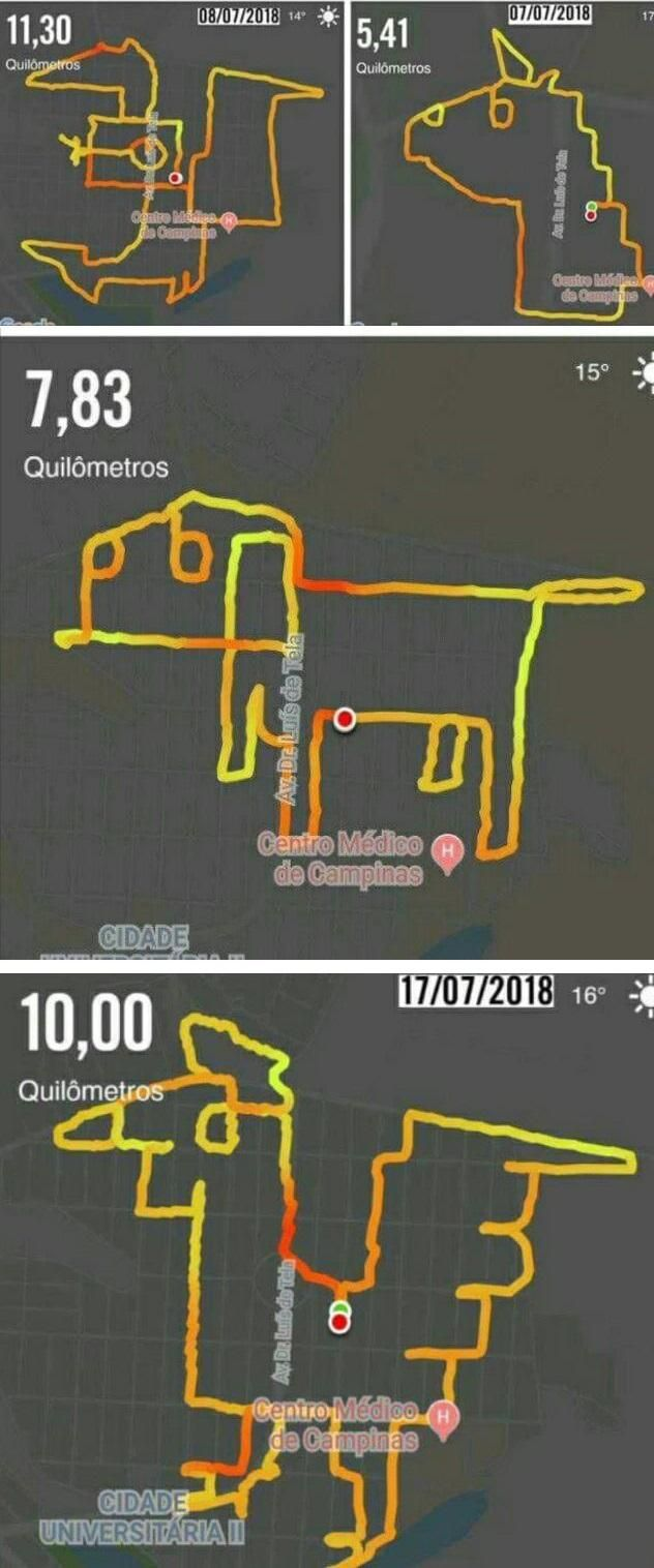 This guy drew some animals while running using the