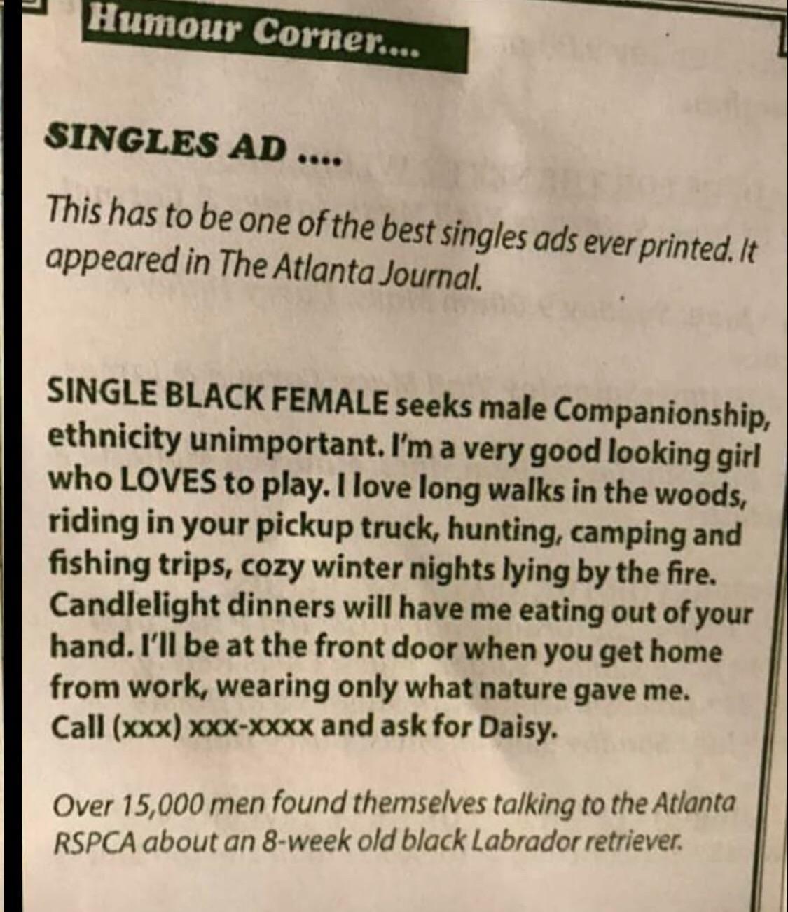 Single Black Female Seeks Male Companionship