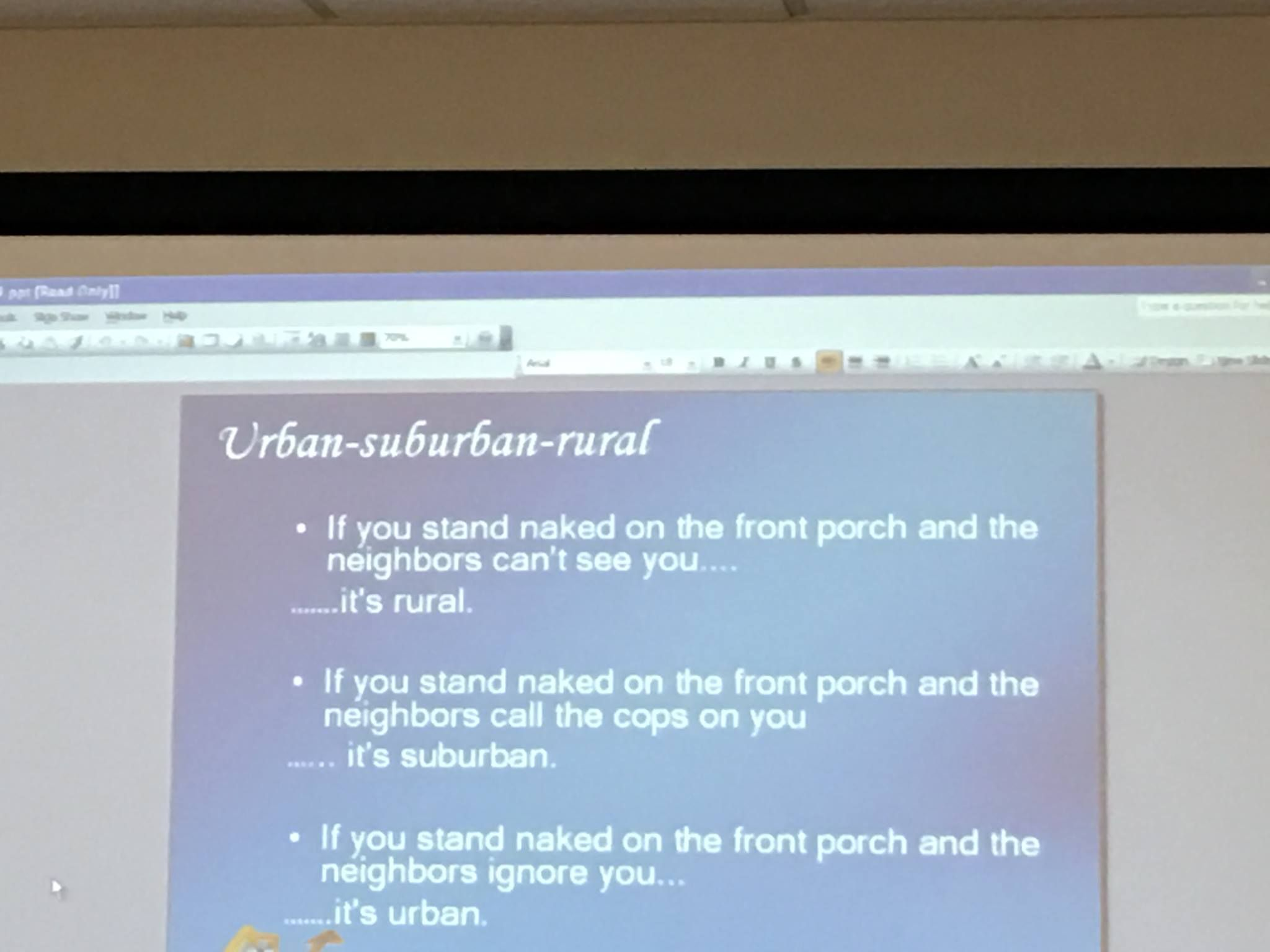 b33be8a154a A friend on Facebook shared this slide from her class. The difference  between urban