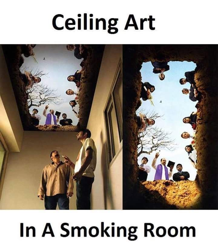 Ceiling Art in a Smoking Room