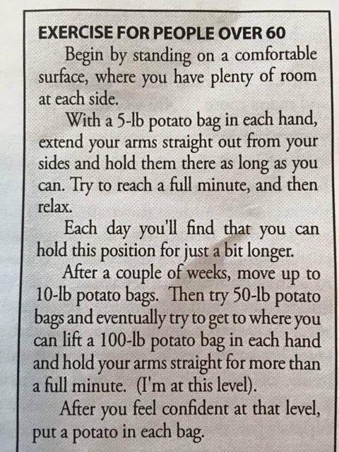 Exercise for the older folks.