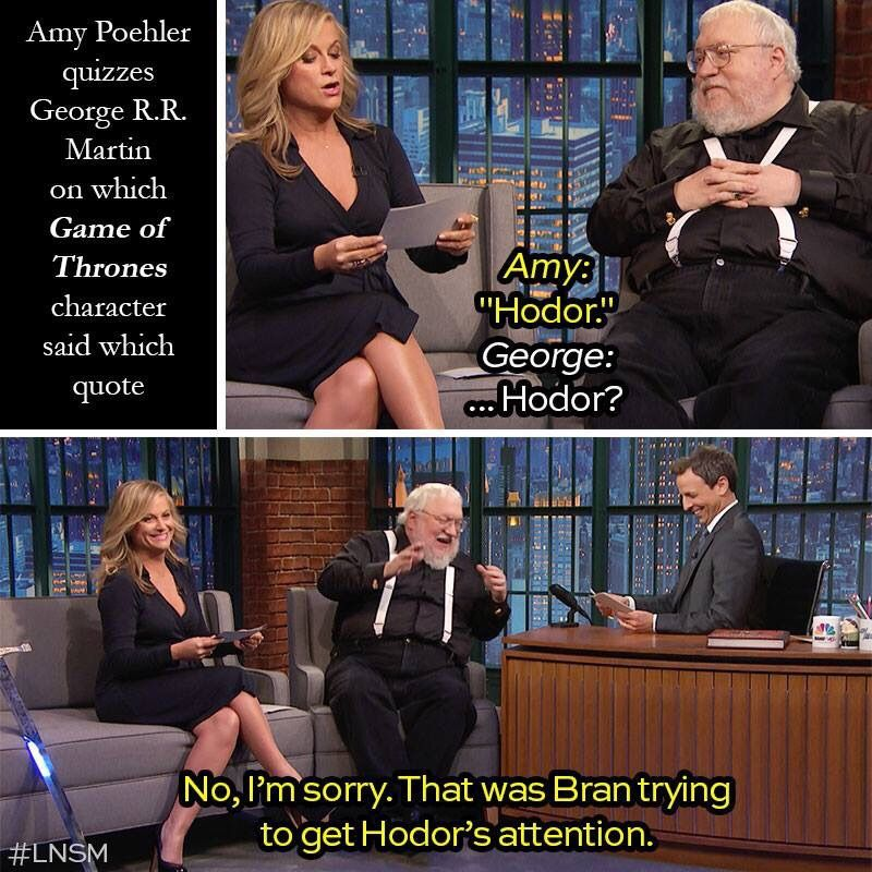 Amy Poehler quizzes George R. R. Martin about a quote from GoT