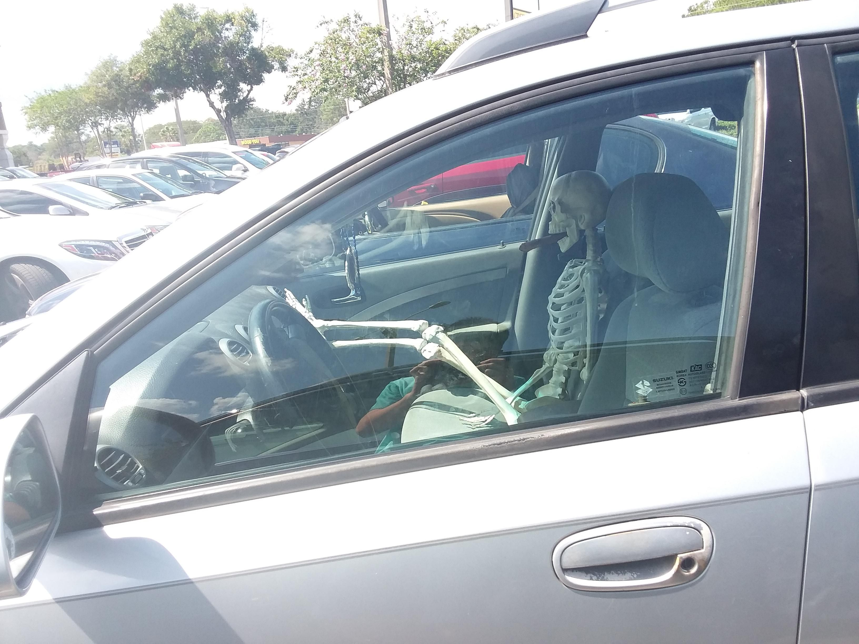 I stayed in the car while the adults went in the DMV, took a nap for a bit. After waking up in the front seat, I saw this fella in the car next to me...