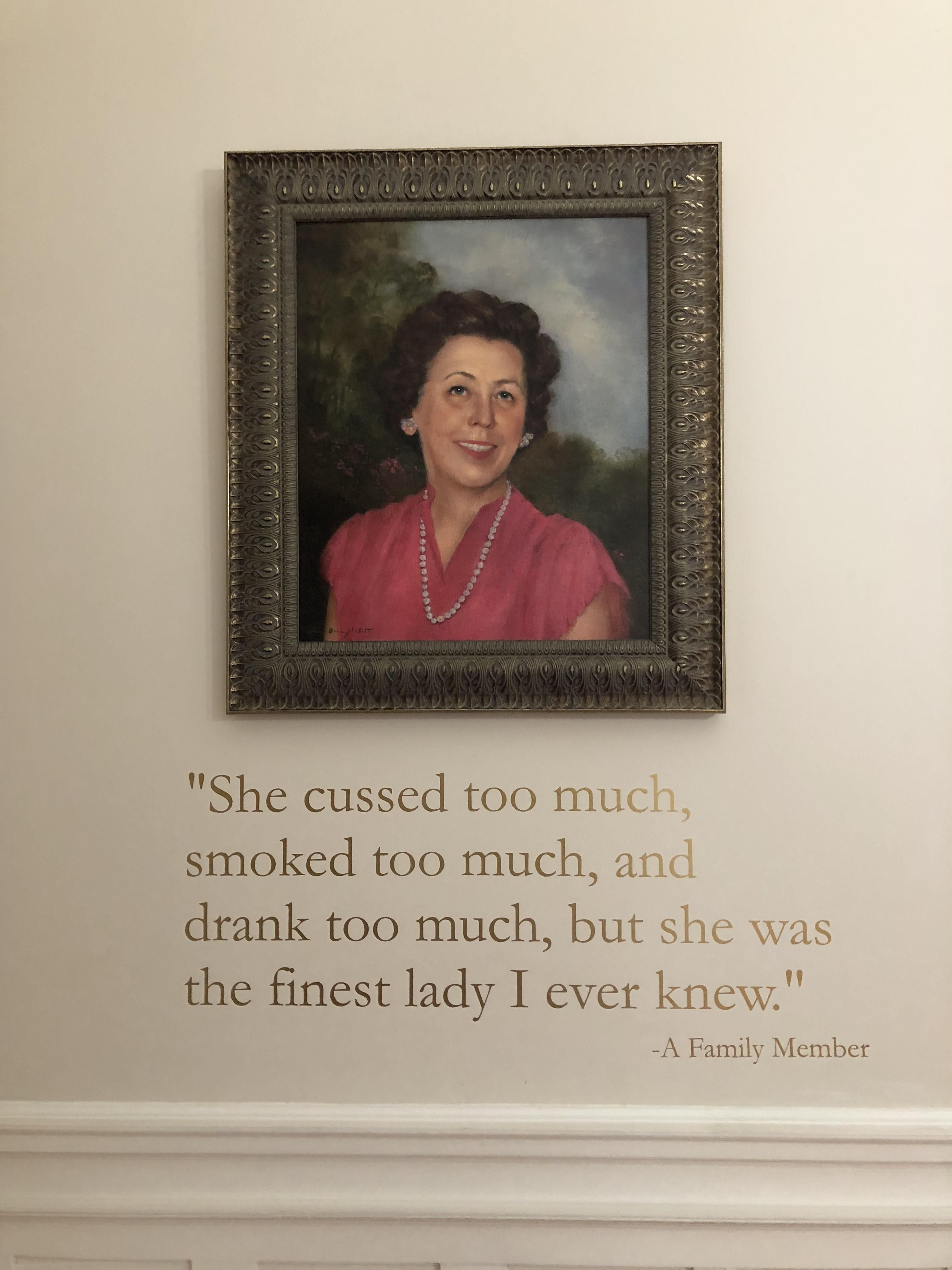 A memorial to a benefactor at a little museum in Mobile, AL. I wish I could have met this lady.