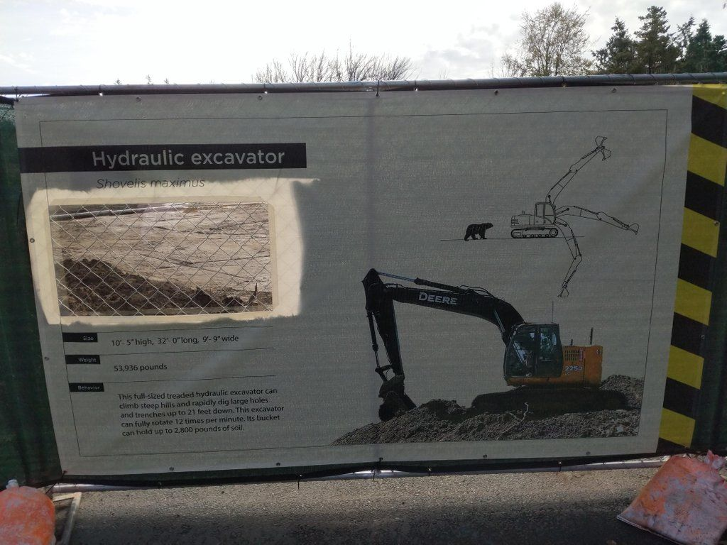 This zoo pretends that the construction site is also an exhibit for wild construction equipment