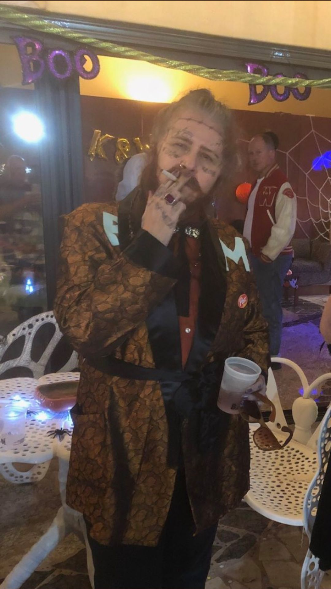 This is a 63 year old woman dressed as Post Malone