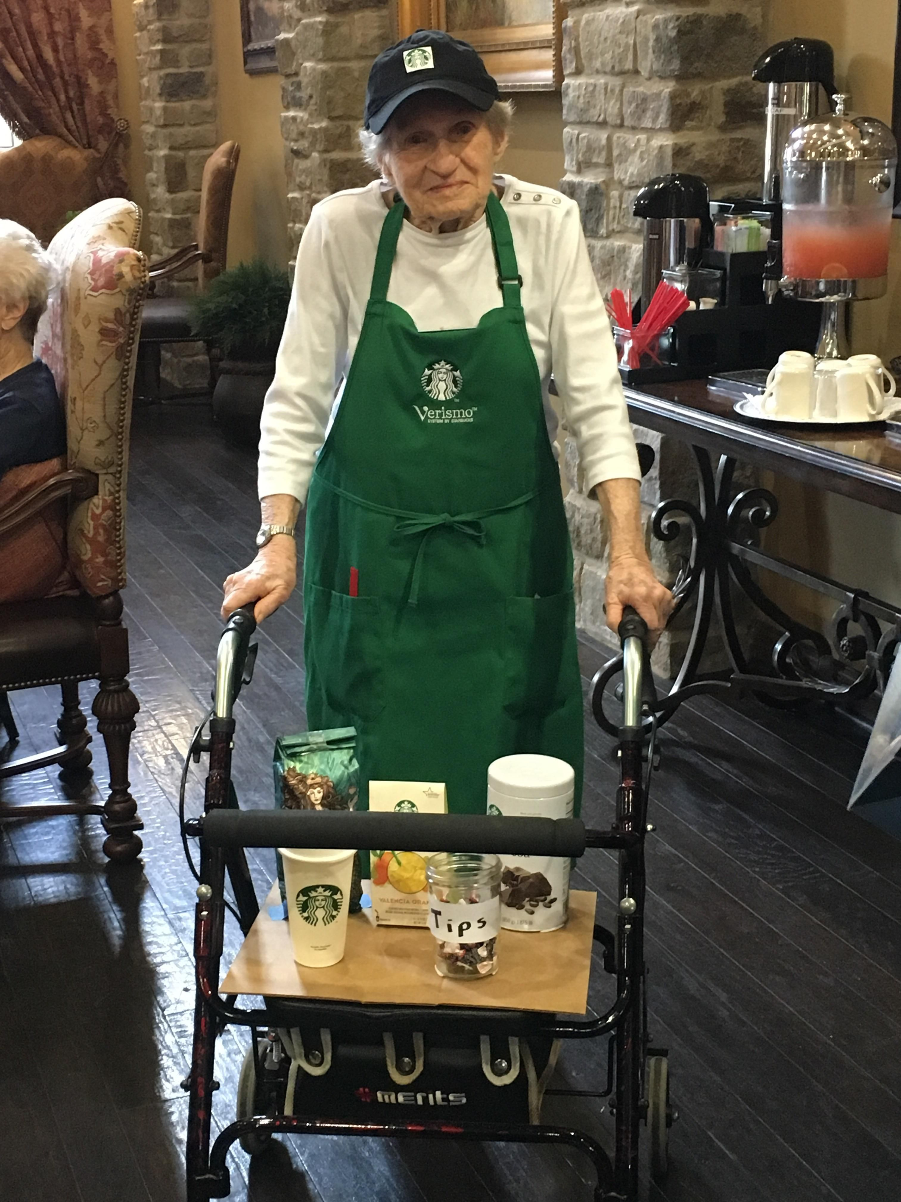 My 96 y/o grandmother wanted to dress up like a Starbucks barista this Halloween. I think she hit it out of the park.